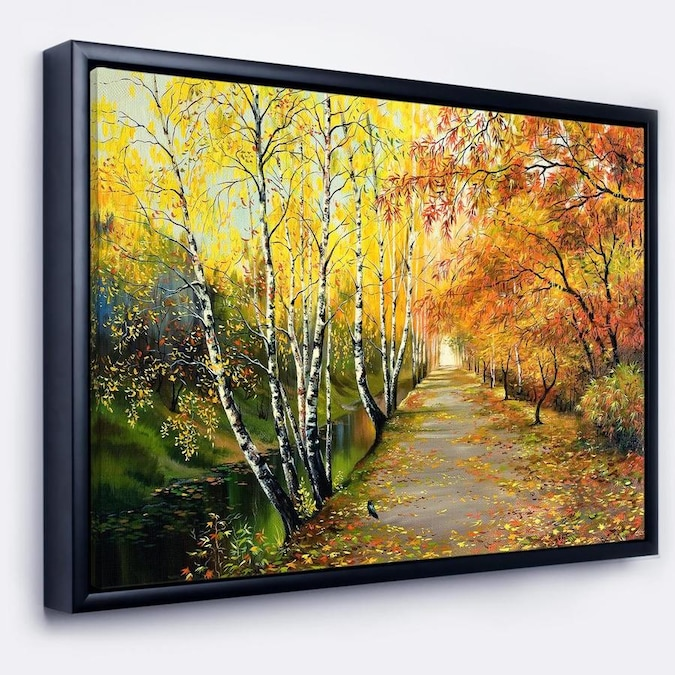 Designart Beautiful Fall Forest Landscape Art Print Framed Canvas In The Wall Art Department At Lowes Com