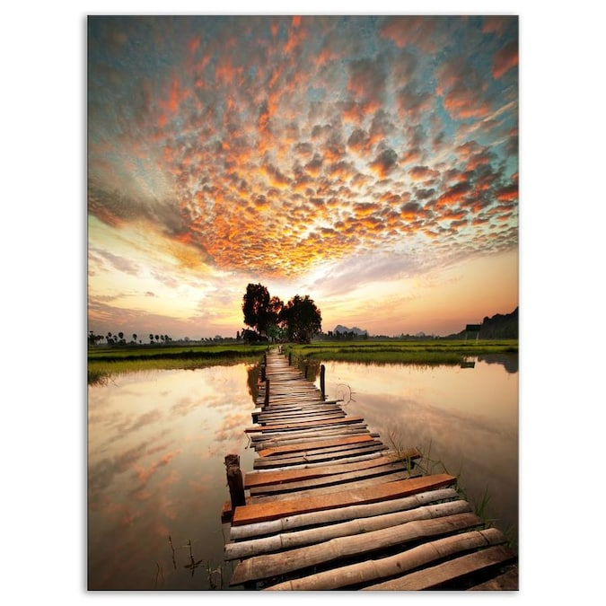 Designart Makeshift Wooden Pier Over River Sea Bridge Canvas Art Print In The Wall Art Department At Lowes Com