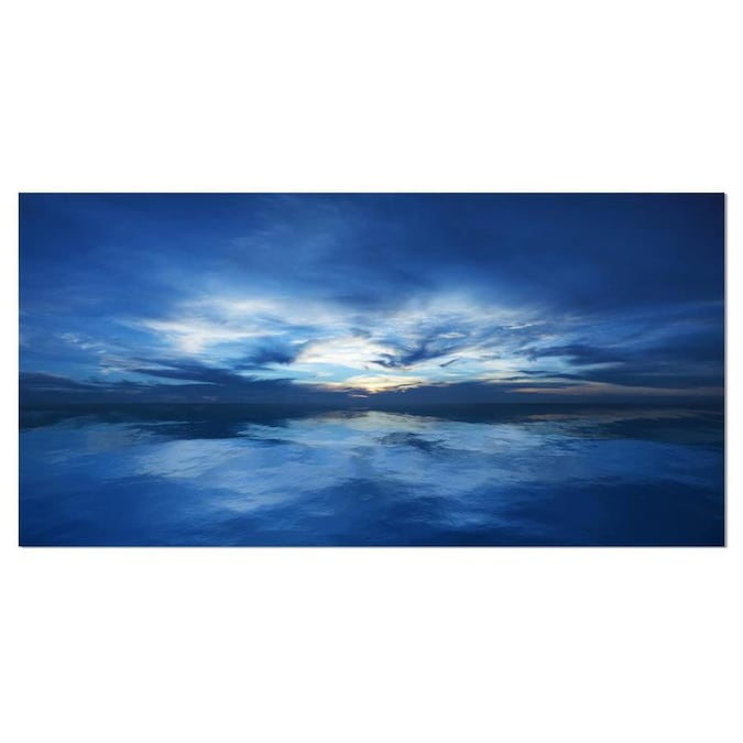 Designart Blue Waters And Blue Sky Sunset Modern Seascape Canvas Artwork In The Wall Art Department At Lowes Com