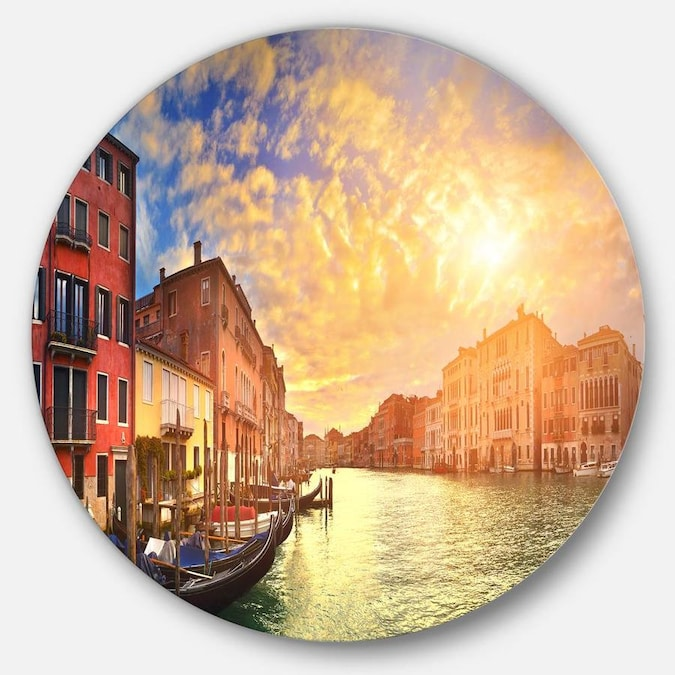 Designart Majestic Sunset Over Venice Cityscape Metal Circle Wall Art In The Wall Art Department At Lowes Com