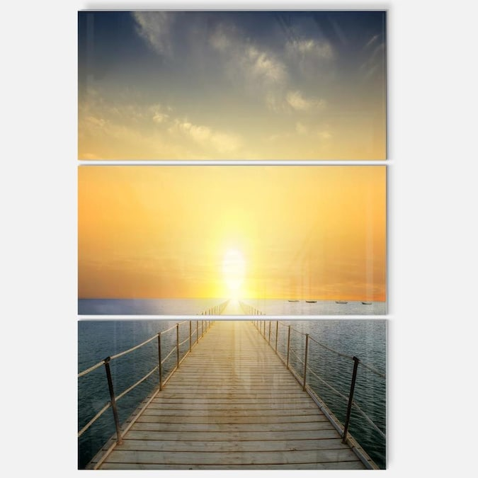 Designart Ocean Sunset With Pier Seascape Metal Wall Art In The Wall Art Department At Lowes Com