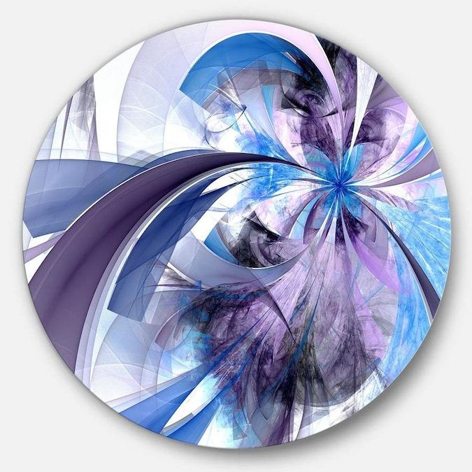 Designart Purple And Blue Symmetrical Fractal Flower Floral Metal Circle Wall Art In The Wall Art Department At Lowes Com
