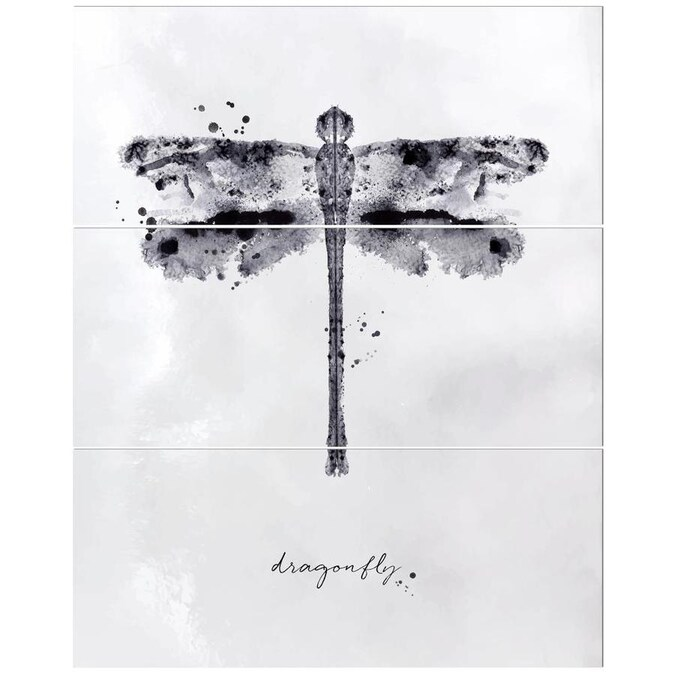 Designart Monotype Dragonfly Black Animals Painting Print On Wrapped Canvas Set In The Wall Art Department At Lowes Com