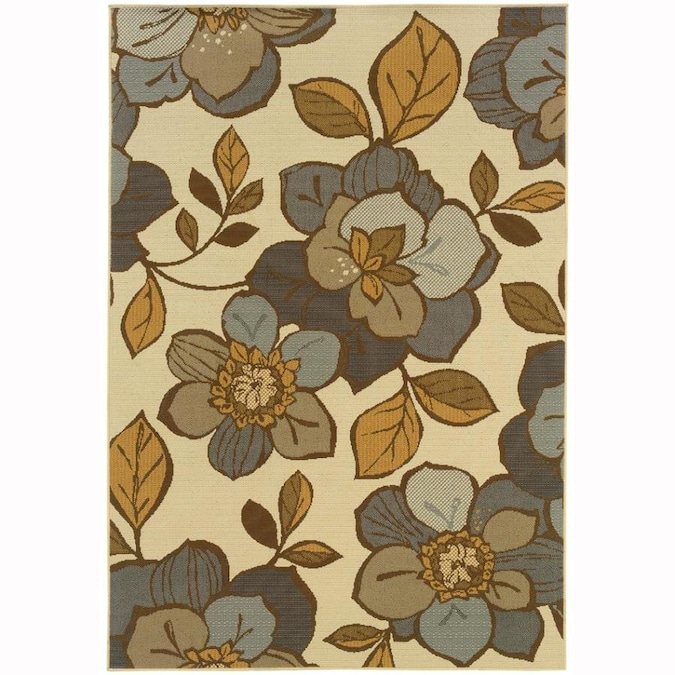 Archer Lane George 10 X 13 Ivory Indoor Outdoor Floral Botanical Area Rug In The Rugs Department At Lowes Com