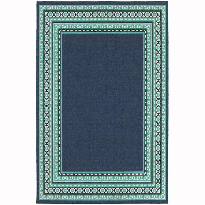 Archer Lane Keating 4 X 6 Navy Indoor Outdoor Border Area Rug In The Rugs Department At Lowes Com