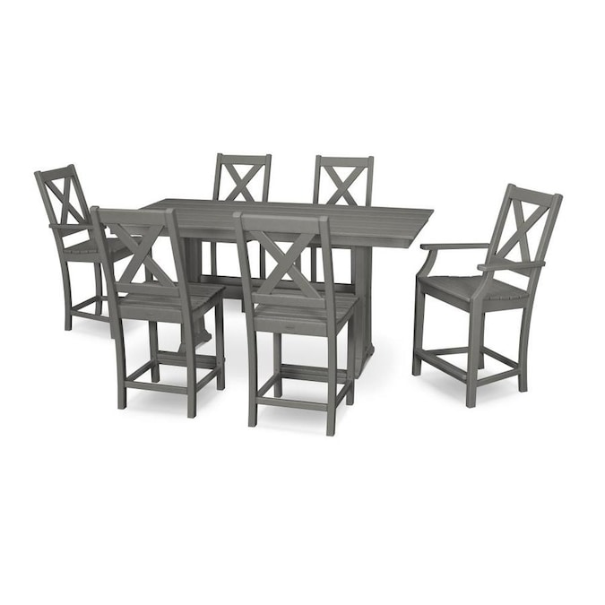 Polywood Braxton 7 Piece Gray Frame Patio Set In The Patio Dining Sets Department At Lowes Com