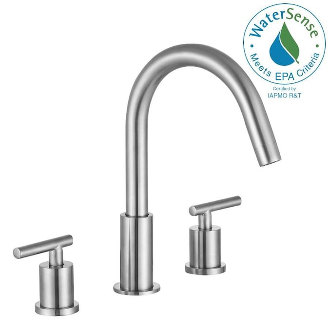 Anzzi Roman Brushed Nickel 2 Handle 8 In Widespread Watersense Bathroom Sink Faucet In The Bathroom Sink Faucets Department At Lowes Com