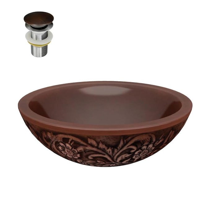 Anzzi Pisces Polished Antique Copper Copper Vessel Round Bathroom Sink Drain Included 16 In X 16 In In The Bathroom Sinks Department At Lowes Com