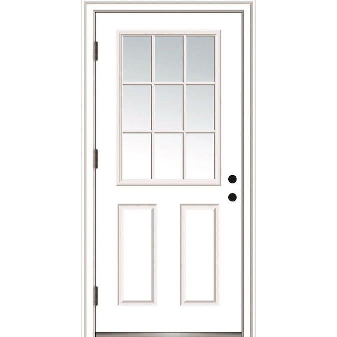 Mmi Door 30 In X 80 In Fiberglass Half Lite Right Hand Outswing Primed Prehung Single Front Door With Brickmould In The Front Doors Department At Lowes Com