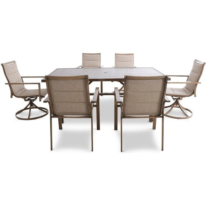 Mod Furniture Atlas 7 Piece Tan Frame Patio Set With Tan Mod In The Patio Dining Sets Department At Lowes Com