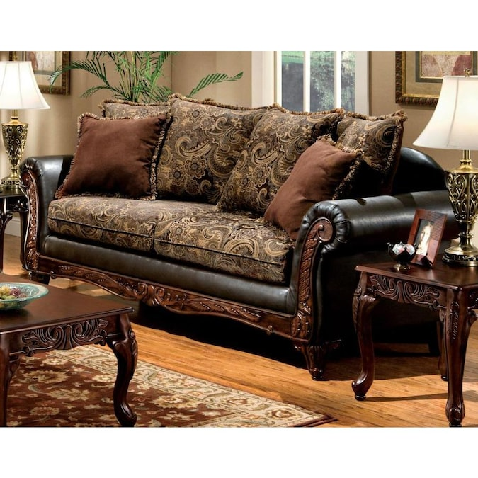 Furniture Of America Rotherham Vintage Brown Dark Brown Faux Leather Sofa In The Couches Sofas Loveseats Department At Lowes Com