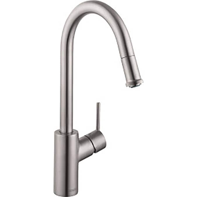 Hansgrohe Talis S Steel Optik 1 Handle Deck Mount Pull Down Handle Lever Kitchen Faucet In The Kitchen Faucets Department At Lowes Com