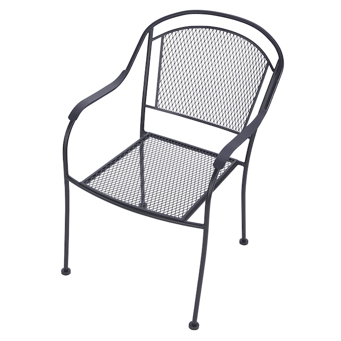 Garden Treasures Davenport Stackable Black Metal Frame Stationary Dining Chair S With Mesh Seat In The Patio Chairs Department At Lowes Com