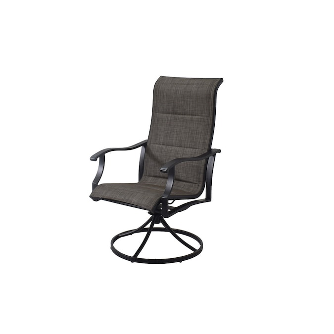 Black Metal Frame Swivel Dining Chair S, High Chair Patio Furniture
