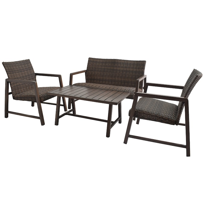 Style Selections Hambright 4 Piece Metal Frame Patio Conversation Set In The Patio Conversation Sets Department At Lowes Com