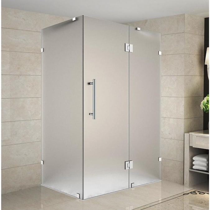 Aston Avalux 72 In H X 36 In W Frameless Hinged Shower Door Frosted Glass In The Shower Doors Department At Lowes Com