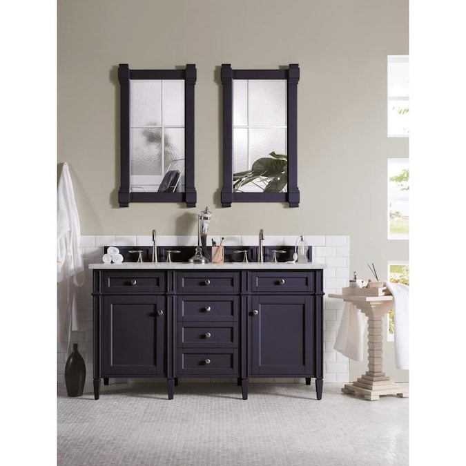James Martin Vanities Brittany 60 In Victory Blue Double Sink Bathroom Vanity With Carrara White Marble Top In The Bathroom Vanities With Tops Department At Lowes Com