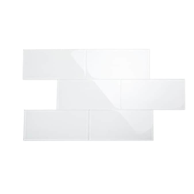 Giorbello 4x12 Glass Subway Tiles 15 Pack Bright White 4 In X 12 In Glossy Glass Subway Wall Tile In The Tile Department At Lowes Com