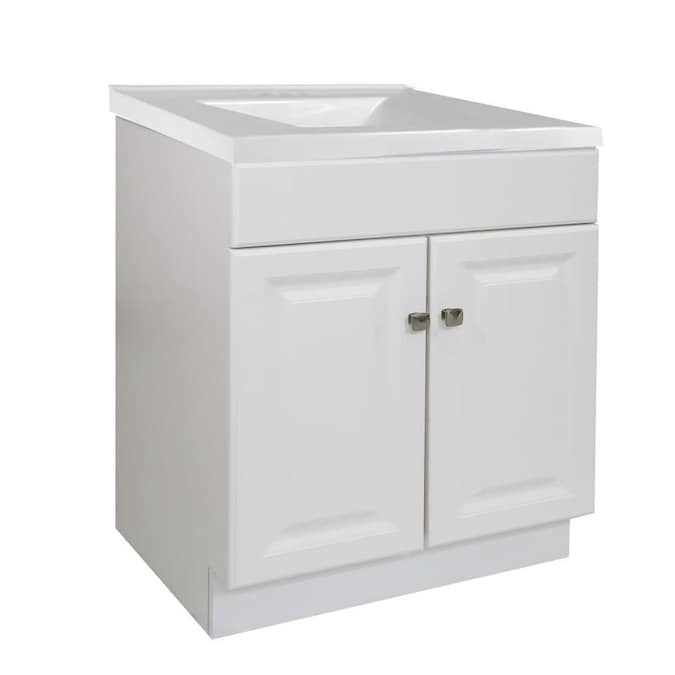 Design House Wyndham 30 In White Single Sink Bathroom Vanity With Solid White Cultured Marble Top In The Bathroom Vanities With Tops Department At Lowes Com