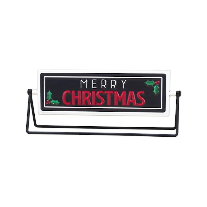 Parisloft Merry Christmas Happy New Year Metal Rotating Tabletop Sign In The Christmas Table Decorations Department At Lowes Com