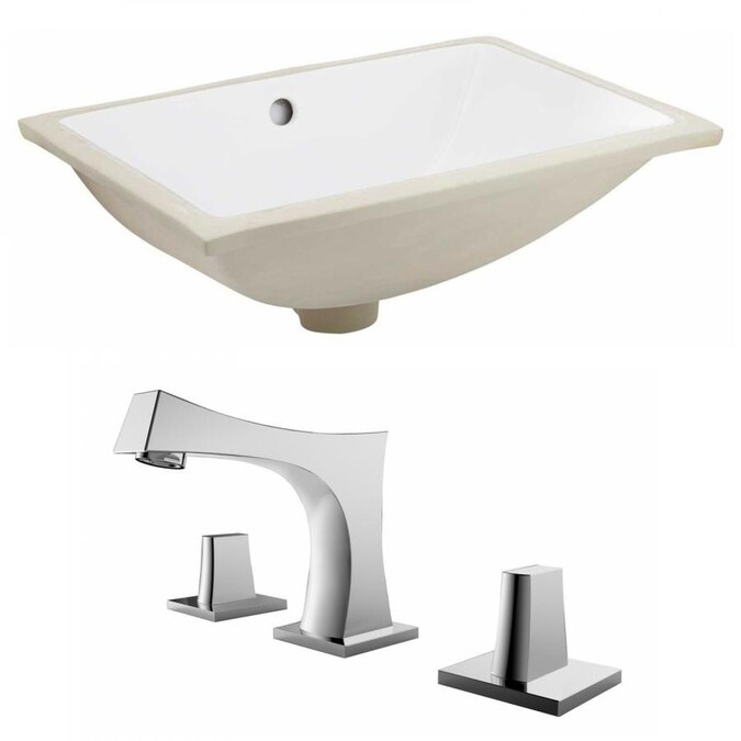 American Imaginations White Ceramic Undermount Rectangular Bathroom Sink With Faucet With Overflow Drain 13 5 In X 18 25 In In The Bathroom Sinks Department At Lowes Com