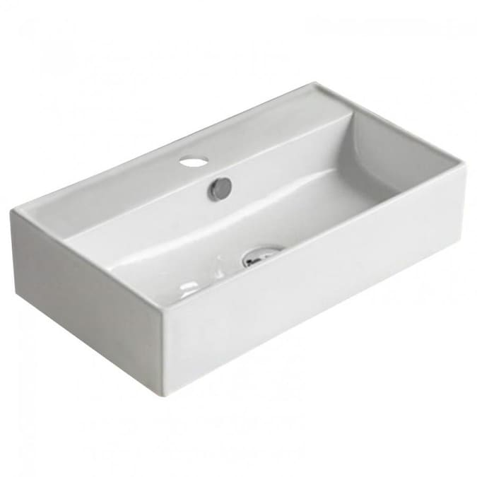 American Imaginations White Ceramic Vessel Rectangular Bathroom Sink With Overflow Drain 12 6 In X 21 7 In In The Bathroom Sinks Department At Lowes Com