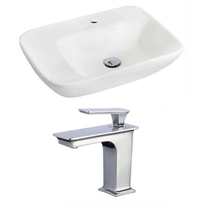 American Imaginations White Ceramic Wall Mount Rectangular Bathroom Sink With Faucet 17 25 In X 23 5 In In The Bathroom Sinks Department At Lowes Com
