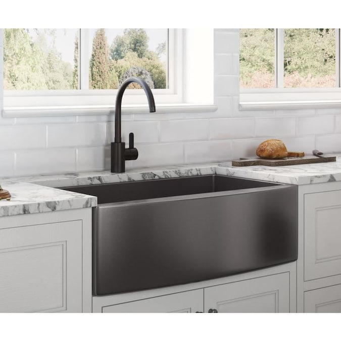 Ruvati Terraza Farmhouse Apron Front 30 In X 22 In Gunmetal Matte Black Single Bowl Kitchen Sink In The Kitchen Sinks Department At Lowes Com