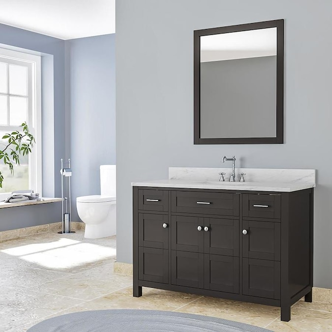 Venice 49 In White Single Sink Bathroom Vanity With White Marble Top In The Bathroom Vanities With Tops Department At Lowes Com