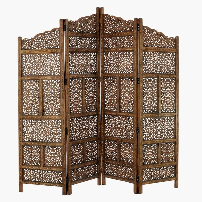 Benzara 4 Panel Brown Wood Folding Casual Style Room Divider In The Room Dividers Department At Lowes Com