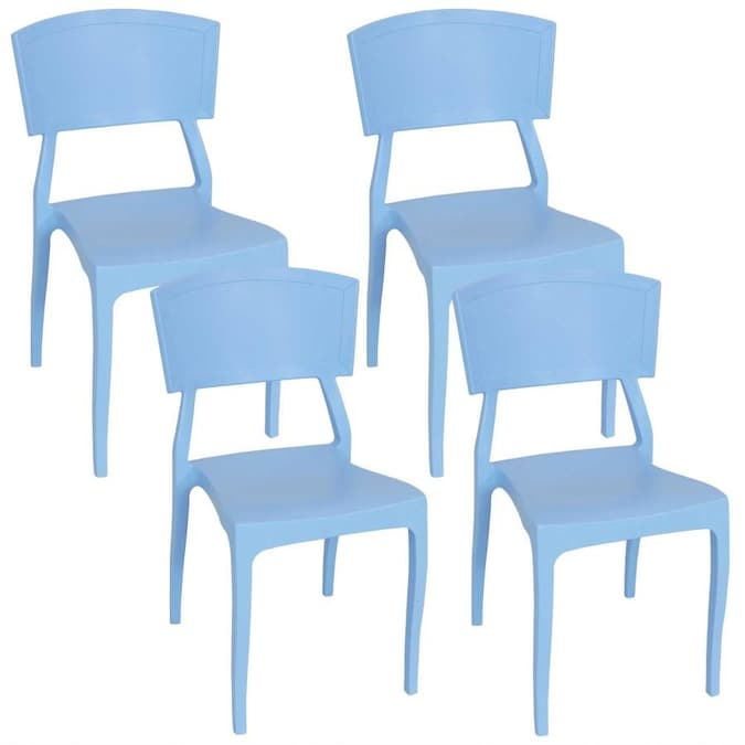 Sunnydaze Decor Set Of 4 Stackable Blue Plastic Frame Stationary Dining Chair S With Solid Seat In The Patio Chairs Department At Lowes Com