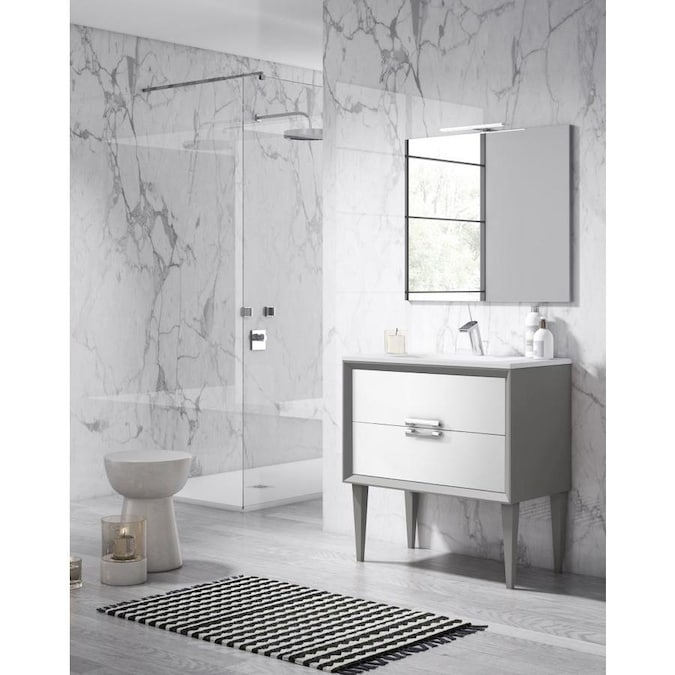 Lucena Bath Decor Tirador 40 In White And Silver Single Sink Bathroom Vanity With White Ceramic Top In The Bathroom Vanities With Tops Department At Lowes Com