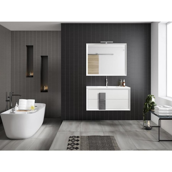 Lucena Bath Decor Cristal 40 In White And Grey Single Sink Bathroom Vanity With White Ceramic Top In The Bathroom Vanities With Tops Department At Lowes Com