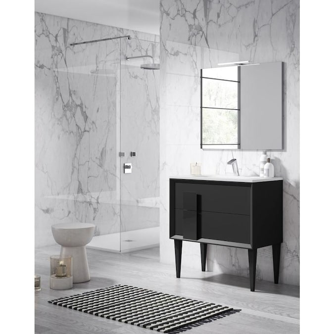Lucena Bath Decor Tirador 32 In Black Single Sink Bathroom Vanity With White Ceramic Top In The Bathroom Vanities With Tops Department At Lowes Com