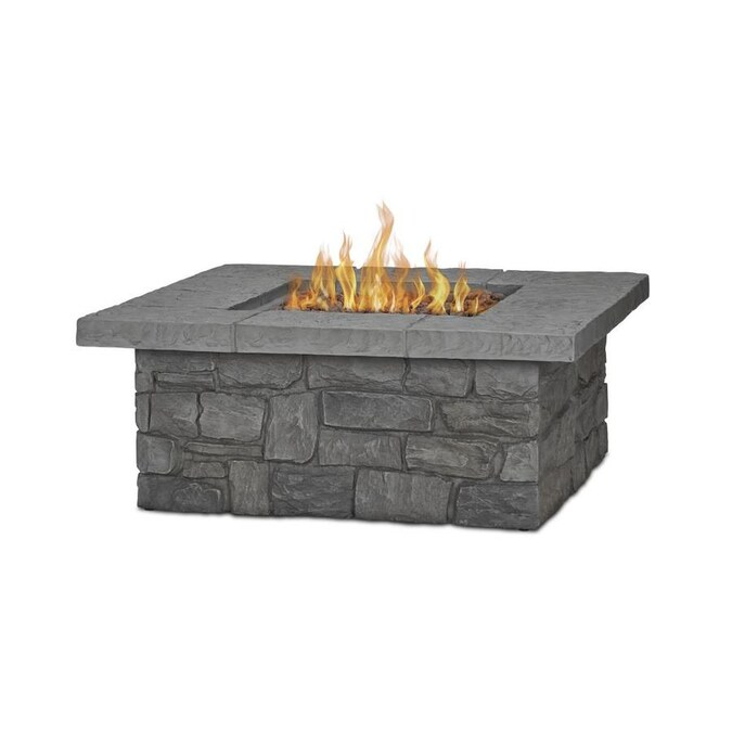 Real Flame Sedona 38 25 In W 65000 Btu Gray Portable Composite Propane Gas Fire Table In The Gas Fire Pits Department At Lowes Com