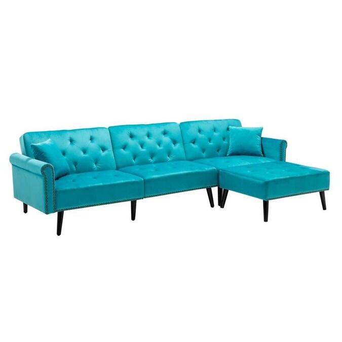 Casainc Light Blue Velvet Living Room, Furniture Sofa Set