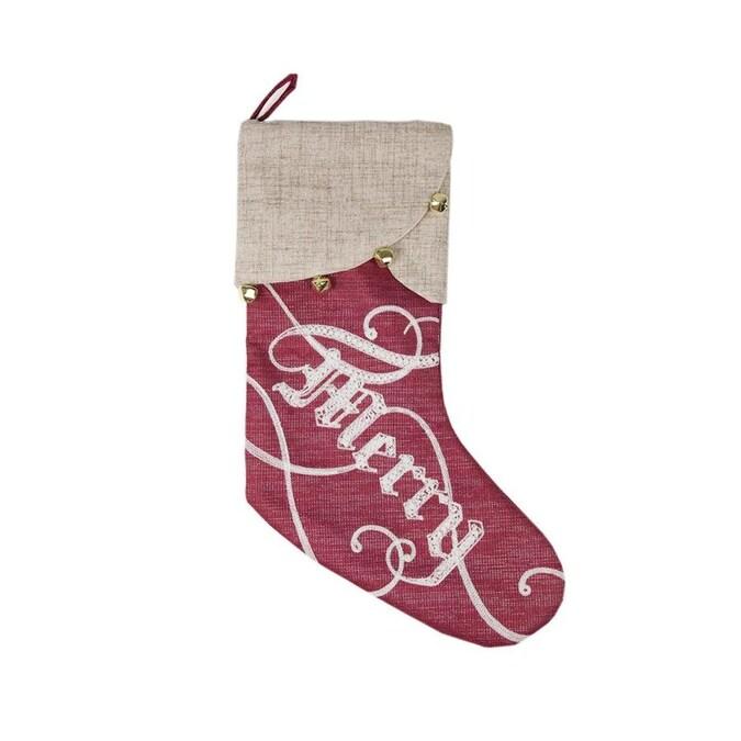 Haute Decor Hangright Stckng Redandwhtpremium In The Christmas Stockings Department At Lowes Com