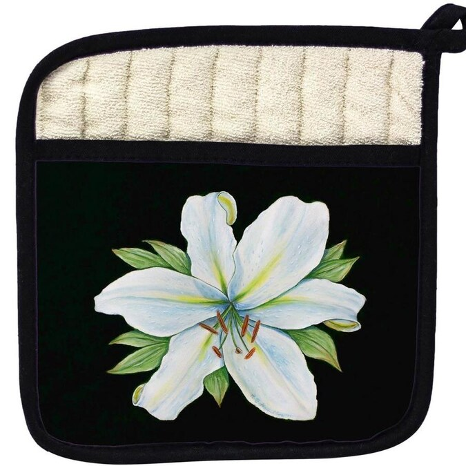Betsy Drake Interiors Betsy Drake Pt704b Casablanca Lily On Black Pot Holder In The Kitchen Tools Department At Lowes Com