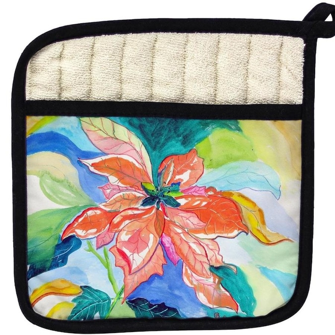 Betsy Drake Interiors Betsy Drake Pt1052 Peach Poinsettia Pot Holder In The Kitchen Tools Department At Lowes Com