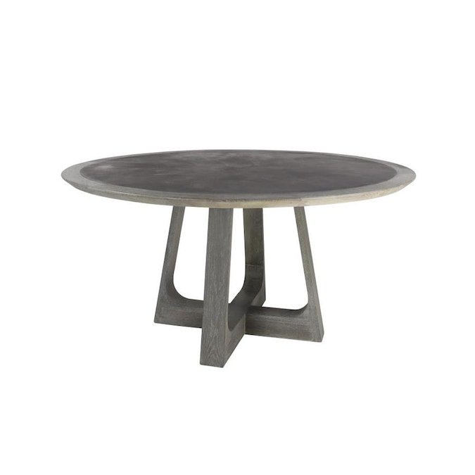 Grayson Lane Grey Round Dining Table Wood With Natural Finish Wood Base In The Dining Tables Department At Lowes Com