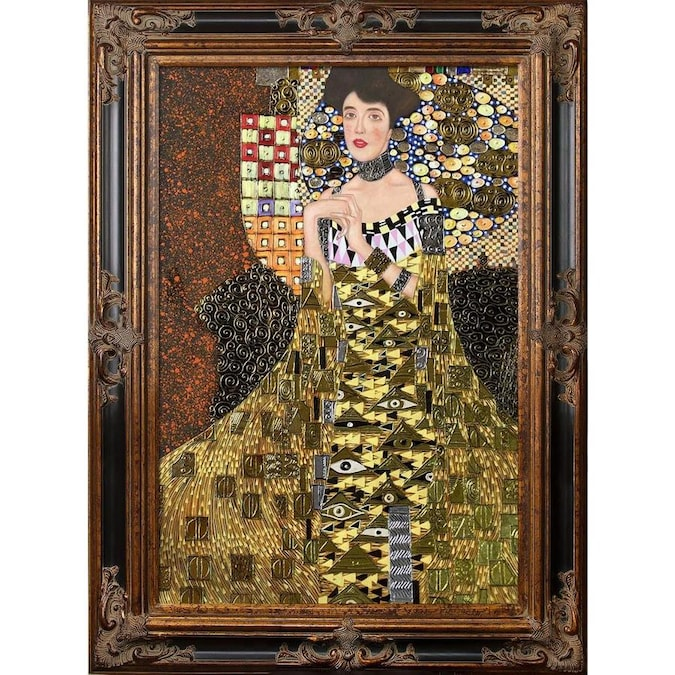 La Pastiche La Pastiche By Overstockart Portrait Of Adele Bloch Bauer I By Gustav Klimt With Gold Burgeon Frame Oil Painting Wall Art 45 5 In X 33 5 In In The Wall Art Department At
