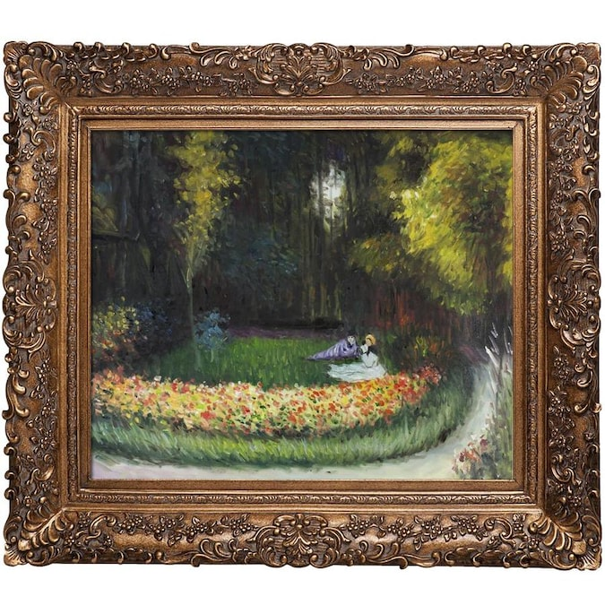 La Pastiche La Pastiche By Overstockart Artist S Garden At Giverny By Claude Monet With Gold Burgeon Frame Oil Painting Wall Art 33 5 In X 29 5 In In The Wall Art Department At Lowes Com