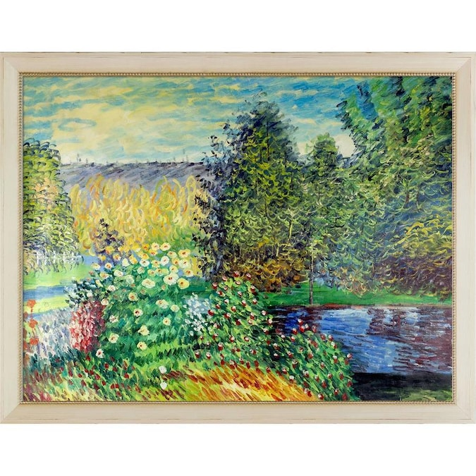 La Pastiche La Pastiche By Overstockart Corner Of The Garden At Montgeron By Claude Monet Gallery Wrapped Canvas Oil Painting Reproduction Wall Art 38 In X 28 In In The Wall Art Department At