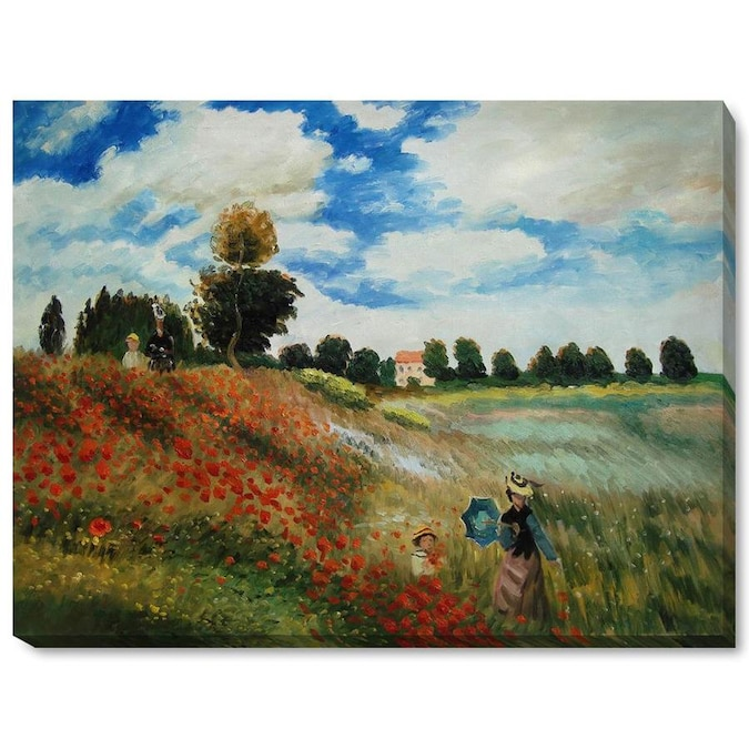 La Pastiche La Pastiche By Overstockart Poppy Field In Argenteuil By Claude Monet Gallery Wrapped Canvas Oil Painting Reproduction Wall Art 46 In X 34 In In The Wall Art Department At Lowes Com