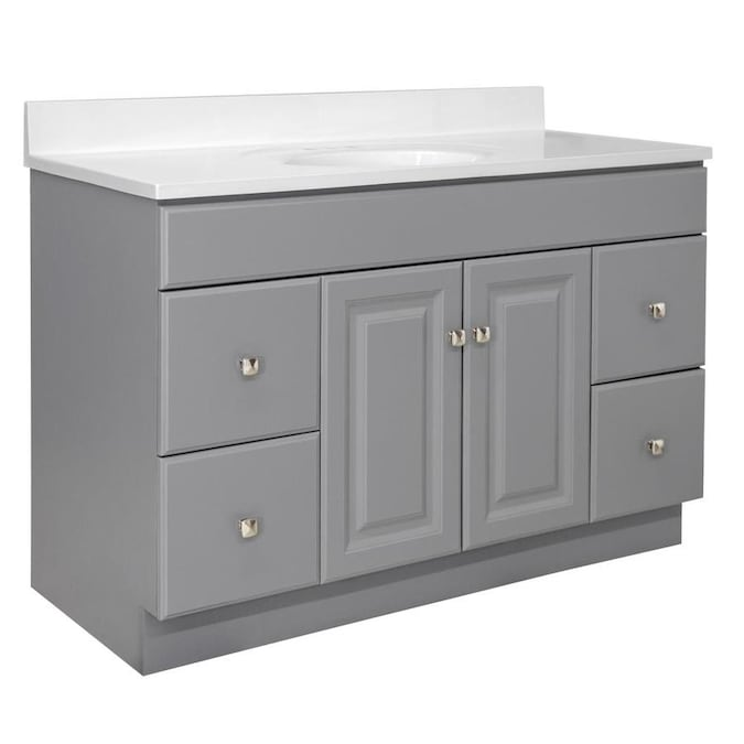 Design House Wyndham 48 In Gray Single Sink Bathroom Vanity With Solid White Cultured Marble Top In The Bathroom Vanities With Tops Department At Lowes Com