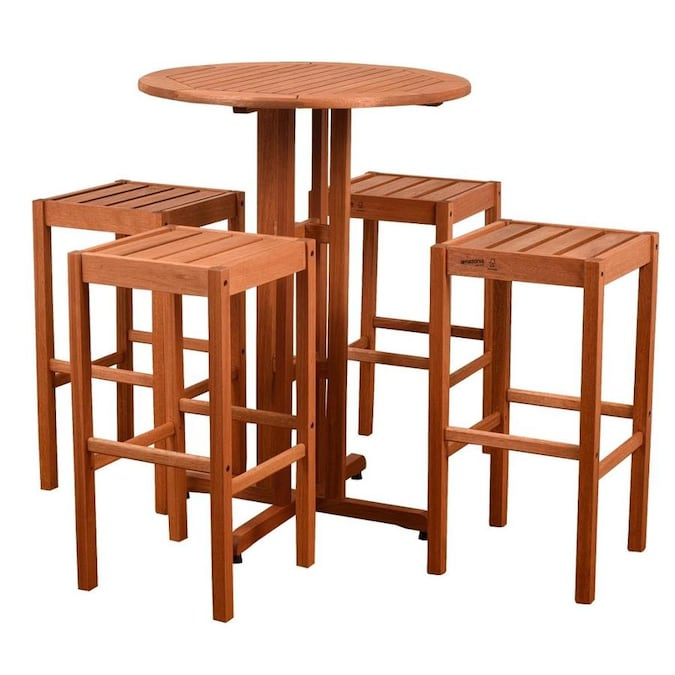 International Home International Home Amazonia Westerdam 5 Piece Eucalyptus Patio Bar Set In The Patio Bars Department At Lowes Com