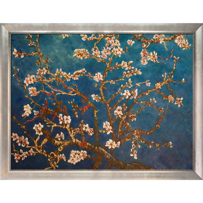 La Pastiche La Pastiche By Overstockart Branches Of An Almond Tree In Blossom By Vincent Van Gogh With White Moderne Blanc Scoop Frame Oil Painting Wall Art 12 75 In X 10 75 In In The