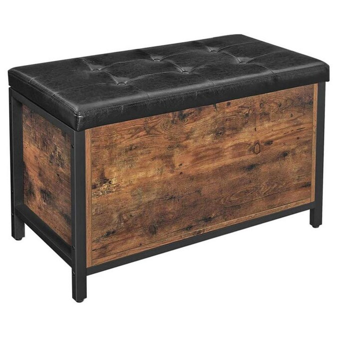Benzara Button Tufted Leatherette Flip Top Storage Bench Black And Brown In The Indoor Benches Department At Lowes Com