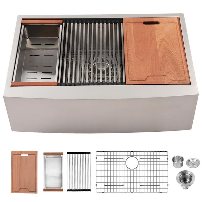 Casainc Farmhouse Apron Front 22 In X 33 In Stainless Steel Single Bowl 1 Hole Workstation Kitchen Sink In The Kitchen Sinks Department At Lowes Com