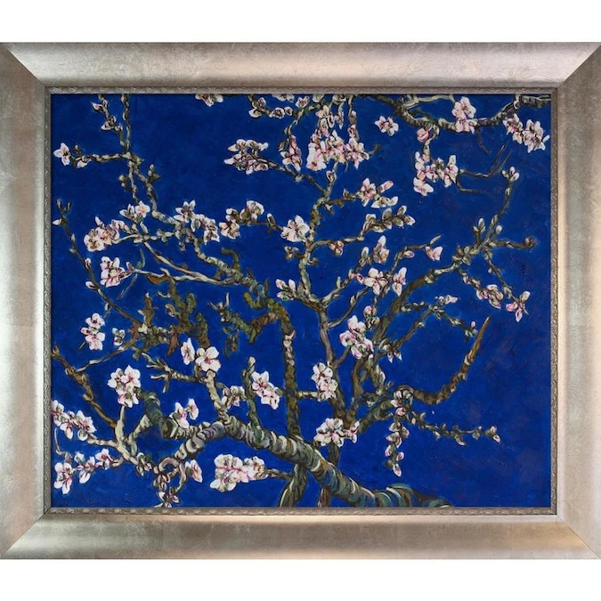 La Pastiche La Pastiche By Overstockart Branches Of An Almond Tree In Blossom By Vincent Van Gogh With Silver Champagne Scoop With Swirl Lip Frame Oil Painting Wall Art 29 In X 25 In